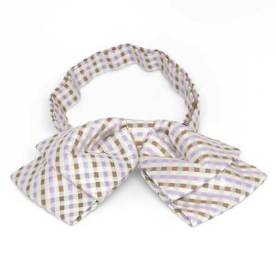 TieMart Cream George Plaid Floppy Bow Tie