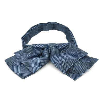 TieMart Dark Blue Michael Glen Plaid Floppy Bow Tie