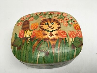 VTG Kashmir India Lacquer Trinket Box - Hand Painted Tabby Cat w Bell Collar