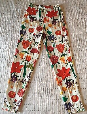 cb3d11e02cbef Vintage Moschino Jeans Women's Floral Print Pants Gold Accent Peace Signs  Rare