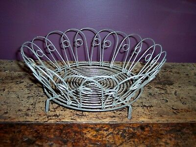vintage wire metal folding egg bread basket collapsible country farmhouse