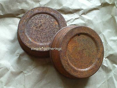 "6  Primitive Rusty Tin Jar Lids 3"" Regular Mouth - Country, Rustic, Reproduction"