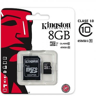 Tarjeta Micro SD Kingston clase 10 con adaptador disponible en 8 -16 -32 y 64 GB