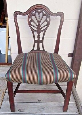 Antique American Federal Chair Wide Seat Hand Carved Circa 1800 In Old Finish