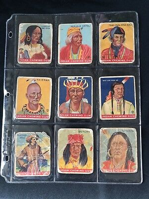 1933 Goudy Gum Indian Chewing Gum Cards Lot of 34