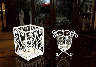 2 Vintage Shabby Chic Distressed White Wrought Iron Metal Candle Holders