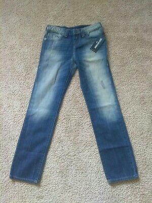 New w/ Tags True Religion Jeans Geno Single End Beaten Blue Kids Size 14