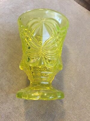 "vintage vaseline glass- glass 5"" tall!"