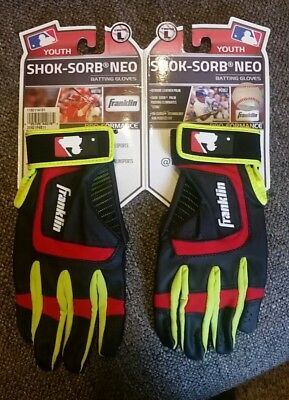 Franklin MLB Shok-Sorb Neo Batting Gloves- Youth Large - Red, Gray, yellow NEW