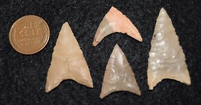 4  Sahara Neolithic triangular projectile points, glossy jasper lithic