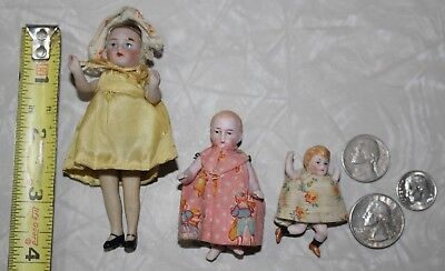 "3 Small Antique German Porcelain Bisque Painted Dollhouse Dolls 3""-2 1/2""-2"""