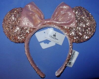 SOLD OUT Disney Parks Authentic ROSE GOLD Minnie Mouse Ears NWT SHIPPED IN A BOX