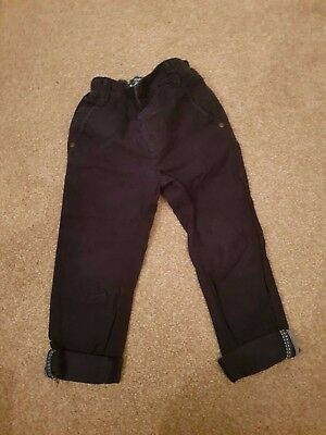 Boys Age 2-3 years Next Jeans Navy Blue Chinos Trousers Slim Leg