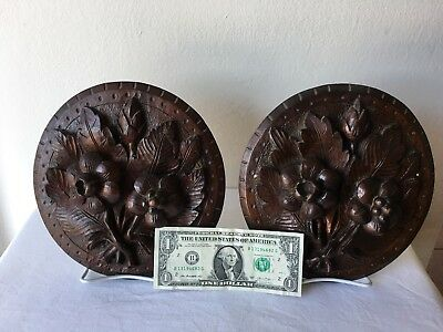 Antique Architectual Salvage Hand Carved PAIR Of Walnut Wall Medallions