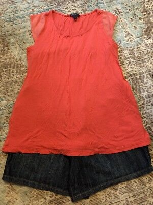 EUC Small Medium Maternity Lot Liz Lange Denim Shorts Gap Coral Tank