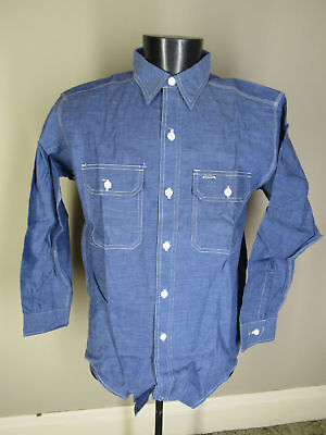 Vtg 50's 60's Deadstock Chambray Cotton Workshirt Montgomery Ward Size L 16 NOS