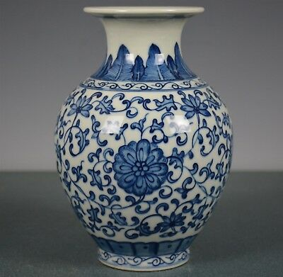 Fine Antique Chinese Porcelain Vase Blue And White Marked Yongzheng Rare In8912