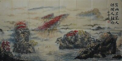 Beautiful Large Chinese Painting Signed Master Bai Xueshi Rare Kl6581