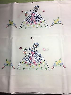 2 Vintage PRETTY Hand Embroidered Fair Ladies Pair Pillowcases Cotton NICE