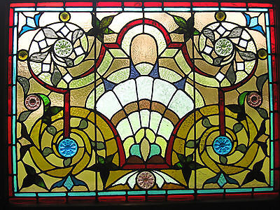 VICTORIAN STAINED GLASS JEWELED WINDOW  ca. 1880s