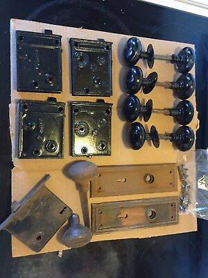 Vintage Antique Lot of 5 sets/10 single Black Porcelain Door Knobs Hardware