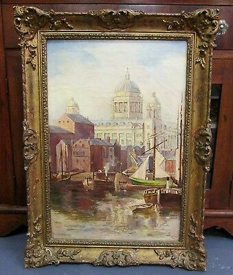 Beautiful Antique Painting Of A  European Canal Scene_ English Artist R S Prutey