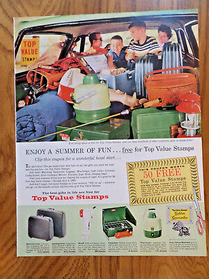 1960 Top Value Stamps Ad   Family Camping Theme Coleman Stove Thermos Lantern