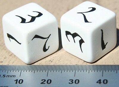 16 mm Script White d6 Dice Pair from Q-Workshop in Poland