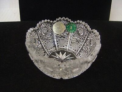 Vintage Bohemian Czech Cut Glass Crystal Small Bowl Starbursts With Sticker