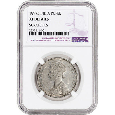 1897 B India Silver Rupee - NGC XF Details - Scratches