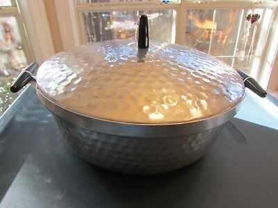 "Vintage 9"" Round Aluminum Covered casserole with hammered look ( no glass dish)"