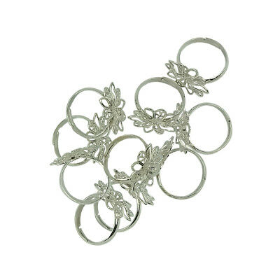 10Pcs Filigree Flower Cocktail Base Ring DIY Jewelry Making for Women Girls