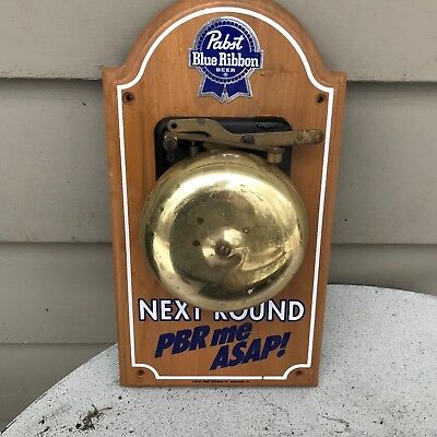 "Vintage Pabst Blue Ribbon Sign "" Next Round Pbr Me Asap "" Wood With Boxing Bell"