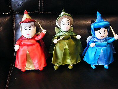 Disney Sleeping Beauty Flora, Fauna,and Merryweather Fairy Godmothers Plush