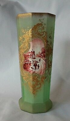 Wonderful French Art Nouveau Vase Artfully Hand Painted Village Scene Legras