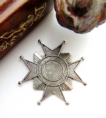 ANTIQUE SILVER  Maltese Art Deco Star Cross Badge Stamping ~ Findings (FB-6094)