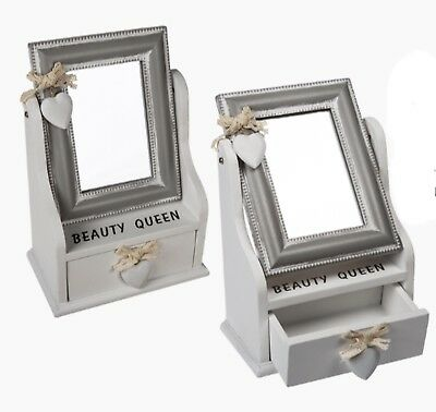 WOODEN DRESSING MIRROR DRAWER Beauty Queen Jewellery Box Valentines Gift