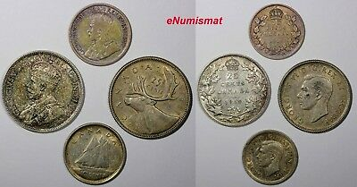 CANADA LOT OF 4 SILVER COINS 1919-1937 10,25 Cents KM#24,23a,35,34