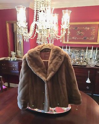 EXQUISITE Vintage FRENCH Country Pacer Faux Light Tan FUR CAPE Coat By TISSAVEL