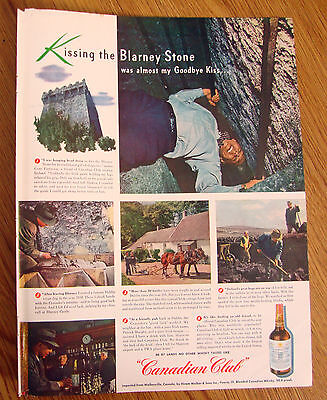 1947 Canadian Club Whiskey Ad Kiss Blarney Stone 1947 Lucky Strike Ad Tobacco