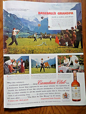 1957 Canadian Club Whiskey Ad Baseball  The Swiss call Game Hornussen or Hornet