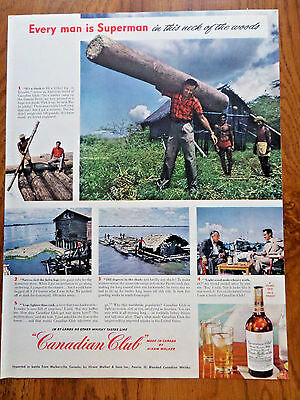 1949 Canadian Club Whiskey Ad Lumber Camp Guayas River 1949 Coca-Cola Coke Ad