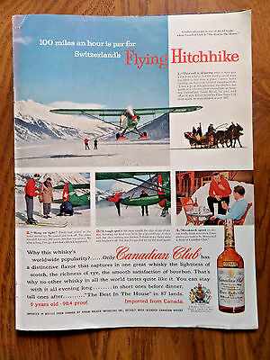 1957 Canadian Club Whiskey Ad Skijoring Switzerland  Camels Cigarette Ad Golub