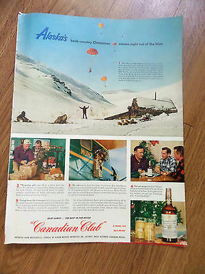 1952 Canadian Club Whiskey Ad Alaska's Back-Country Christmas Munz Bush Pilots