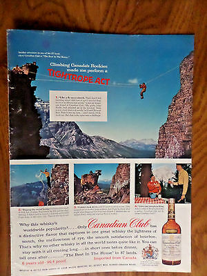 1957 Canadian Club Whiskey Ad Alberta Canadian Rockies Tyrolean Traverse