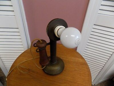 Antique WESTERN ELECTRIC Brass Candlestick Telephone Table Lamp Works Great!