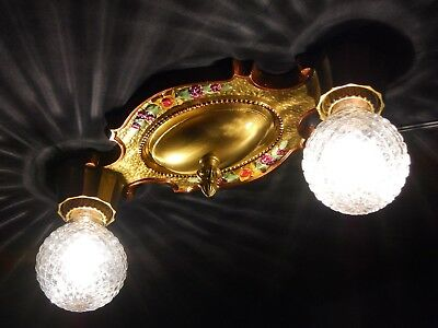 Restored Antique Vintage Art Deco Victorian Flush Mount 2 Light Ceiling Fixture