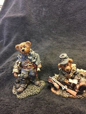 Lot of 2 Boyds Bears Resin Figurines, Civil War Union Jack & Stonewal the Rebel