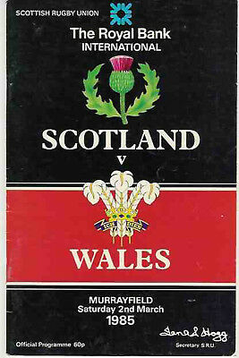 SCOTLAND v WALES 1985 RUGBY PROGRAMME FIVE NATIONS at MURRAYFIELD
