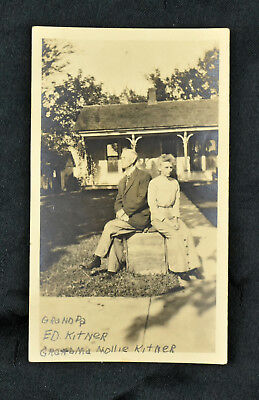 Vintage Antique Photo Snapshot Photograph 1920s Old Man Woman in Front of House